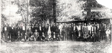 Confederate Soldiers reunion at the original United Methodist Church near Grove Hill, Alabama. Circa 1890.