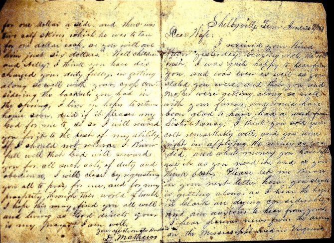 David Mathews letter home to Rebecca Waldrum Mathews from Civil War