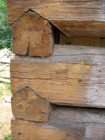 Mathews Cabin restoration, corner detail.